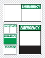 symbol Emergency sign label on transparent background vector