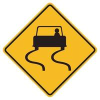 Warning signs Slippery road on white background vector