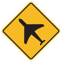 Warning signs low-flying aircraft on white background vector