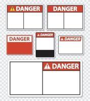 símbolo etiqueta de señal de peligro sobre fondo transparente vector
