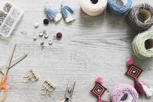 Crafting tools table border background photo