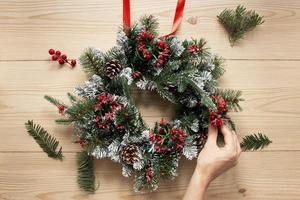 Decorative Christmas wreath composition photo