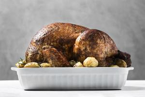Delicious roasted turkey tray photo
