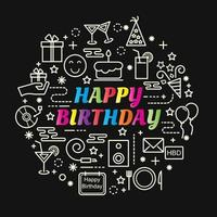 happy birthday colorful gradient lettering with line icons vector