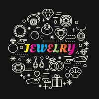 jewelry colorful gradient lettering with line icons vector