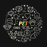 pet colorful gradient lettering with line icons vector