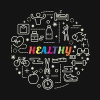 healthy colorful gradient lettering with line icons vector