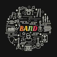 band colorful gradient lettering with line icons vector