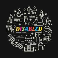 disabilities colorful gradient lettering with line icons vector