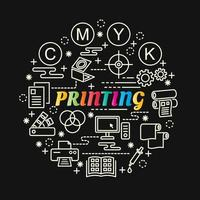 printing colorful gradient lettering with line icons vector