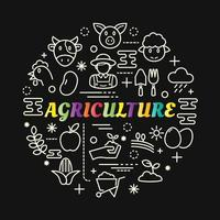 agriculture colorful gradient lettering with line icons vector