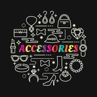 accessories colorful gradient lettering with line icons vector