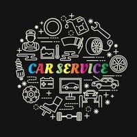 Servicio de coche letras de degradado de colores con iconos de línea vector