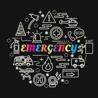 Letras de gradiente de colores de emergencia con iconos de línea vector