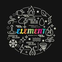 element colorful gradient lettering with line icons vector