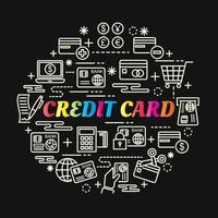 credit card colorful gradient lettering with line icons vector