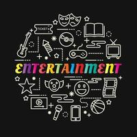 entertainment colorful gradient lettering with line icons vector