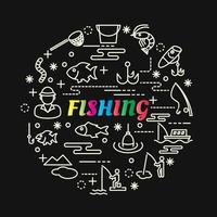 fishing colorful gradient lettering with line icons vector