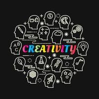 creativity colorful gradient lettering with line icons vector