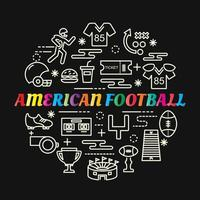 american football colorful gradient lettering with line icons vector