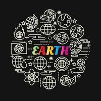 Letras de degradado de colores de la tierra con iconos de línea vector