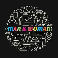 Letras de degradado de colores de hombre y mujer con iconos de línea vector