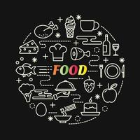 food colorful gradient lettering with line icons vector