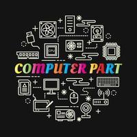 Parte de la computadora letras de colores degradados con iconos de línea vector