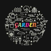 garden colorful gradient lettering with line icons vector