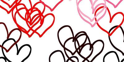 Light Pink, Red vector template with doodle hearts.