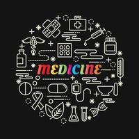 Letras de gradiente colorido de medicina con iconos de línea vector