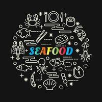 seafood colorful gradient lettering with line icons vector