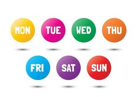 weekly colorful icons vector