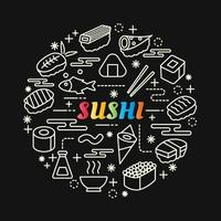 sushi colorful gradient lettering with line icons vector