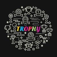 trophy colorful gradient lettering with line icons vector