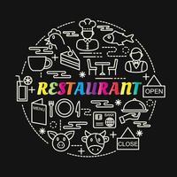 restaurante con letras de colores degradados con iconos de línea vector