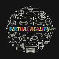 virtual reality colorful gradient lettering with line icons vector