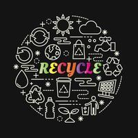 Reciclar letras de degradado de colores con iconos de línea vector