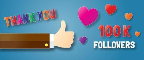 thank you followers paper art banner vector