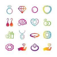 jewelry vector gradient icons