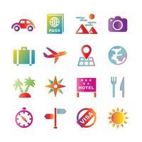 travel vector gradient icons