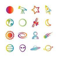 iconos de gradiente de vector espacial