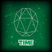 green gemstone outline design vector