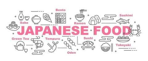 banner de vector de comida japonesa