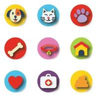 pet paper cut icons vector