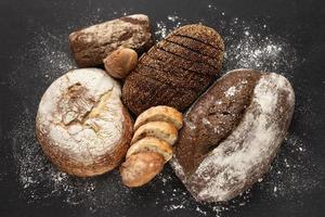 Flat lay delicious bread concept photo