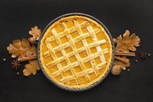 fondo de pastel de calabaza laico plano foto
