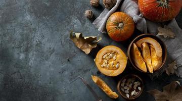 Flat lay pumpkins arrangement