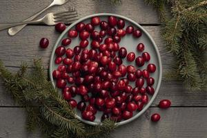 Flat lay of a plate of cranberries with pine and forks photo