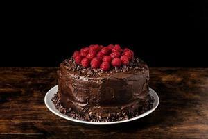 Vista frontal delicioso concepto de pastel de chocolate foto